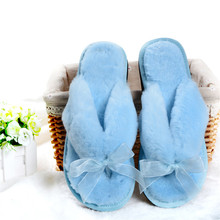 Design Female Slippers Women Home Plush Slippers Winter Fur Flip Flops Butterfly-knot Indoor Slippers Ladies Shoes