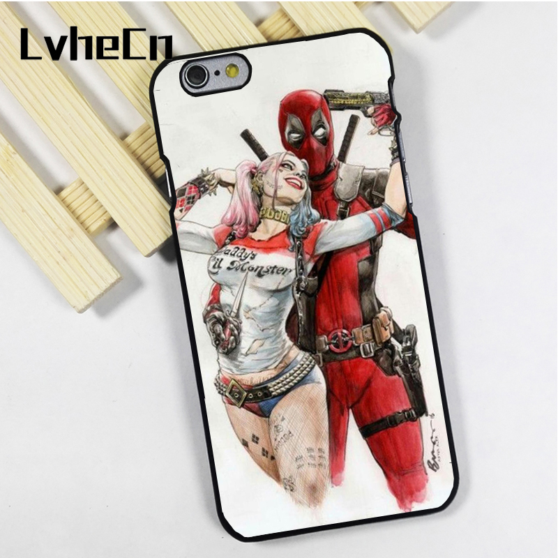 LvheCn phone case cover fit for iPhone 4 4s 5 5s 5c SE 6 6s 7 8 plus X ipod touch 4 5 6 Deadpool Harley Quinn Awesome Marvel