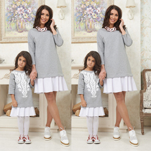 Family Matching Outfit Xmas Mother Daughter Print Sweater Dresses Christmas Girl Dress font b Hoodies b