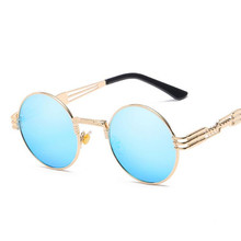Gothic Steampunk Sunglasses Men Women Metal Classic Eyeglasses Round Shades Brand Designer Sun Glasses Mirror High Quality UV400
