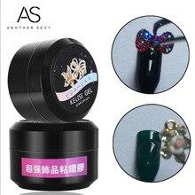 Gel Nail Polish Glue Tips UV/LED Glitter Adhesives Super Sticky Rhinestones Decoration With Brush Acrylic Glue