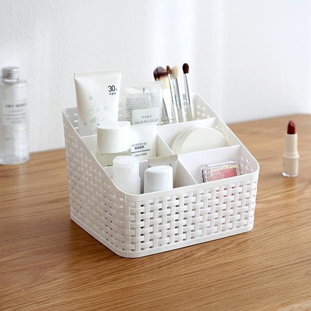 Multi-Purpose Desk Organizer PP Plastic Desktop Storage Box Case Pen Pencil Holder Plastic Cosmetics Make Up Organizer Container