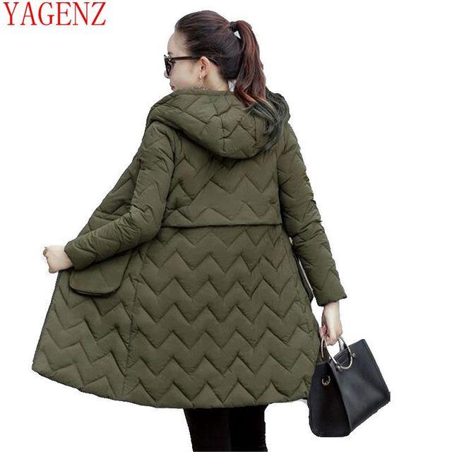 Yagenzfashion зимой Для женщин одноцветное пальто теплая куртка на подкладке из хлопка на меховой подкладке, Теплая стеганая верхняя одежда, в Корейском стиле; большие размеры зимние ботинки куртка coat543