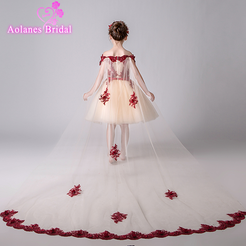 High Quality Shoulderless Flower Girl Party Pageant Princess Dress For Little Girls Glitz Pink Appliques First Communion Dresses