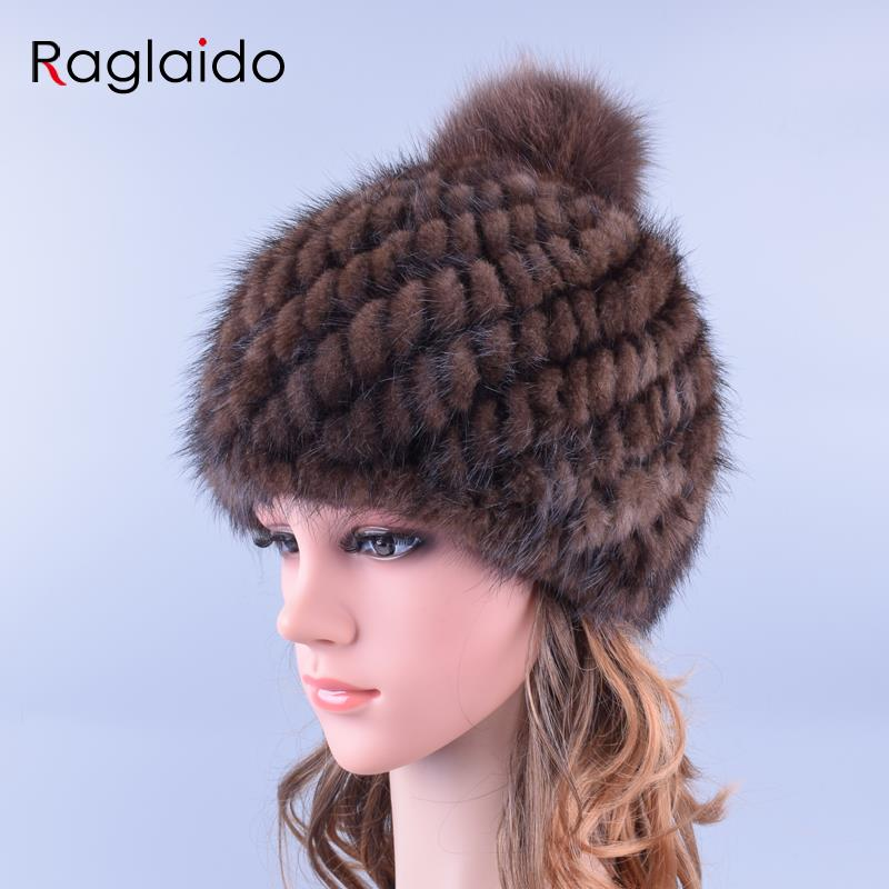 Raglaido Pompom Real Mink Fur Hats For Women With Fox Fur Pompoms Knitted  Winter Beanies Cap Thicken Brand Cap LQ11192