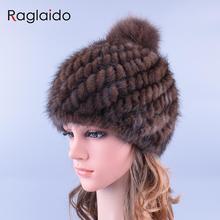 Raglaido Pompom Real Nerz Hüte für Frauen Mit Fuchs Pelz Pompons Gestrickte Winter Mützen Kappe Verdicken Marke Kappe LQ11192
