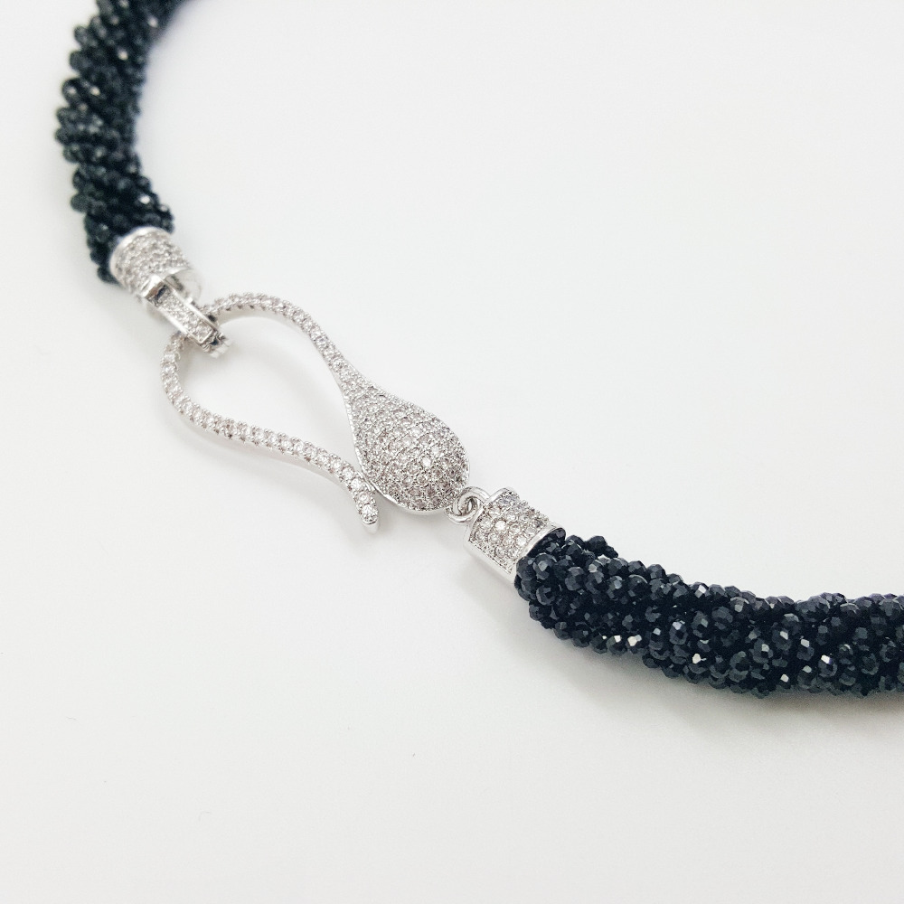 Lii Ji Natural Black Spinel Chorkers Necklace 9 Rows