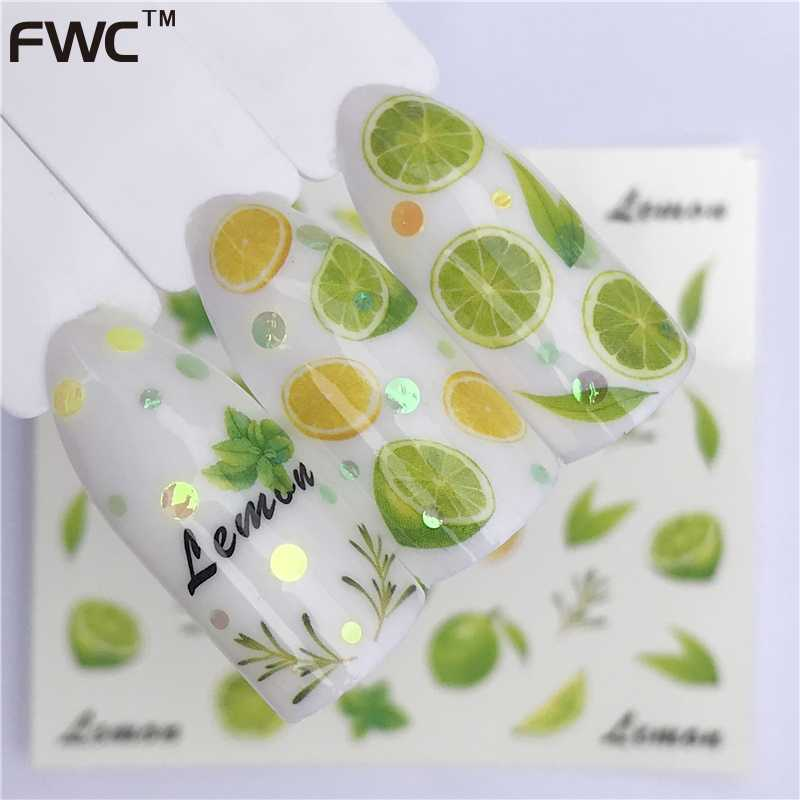 ZKO 1 Sheet Fruit Design Nail Art Sticker Water Transfer Decals Summer Watermelon Tattoos Slider Color Tips Decoration