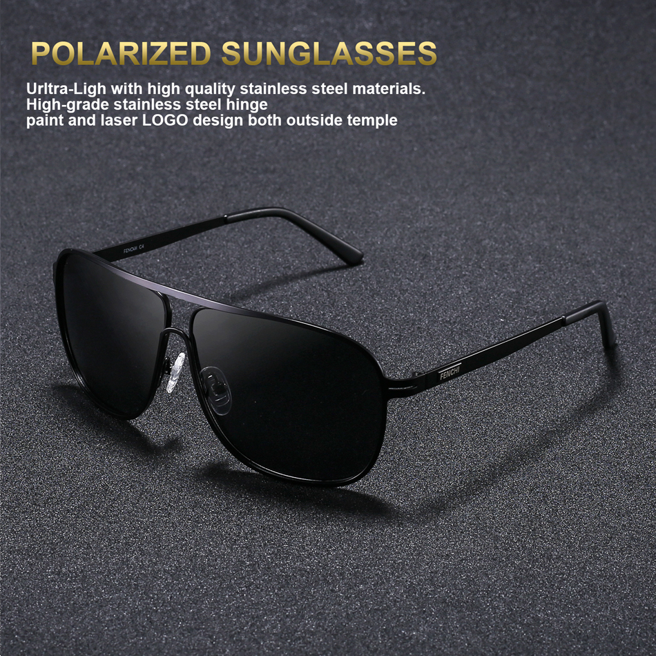 FENCHI Sunglasses Men Polarized Square Retro New Driving Vintage Super Light Fishing Eyewear Polaroid
