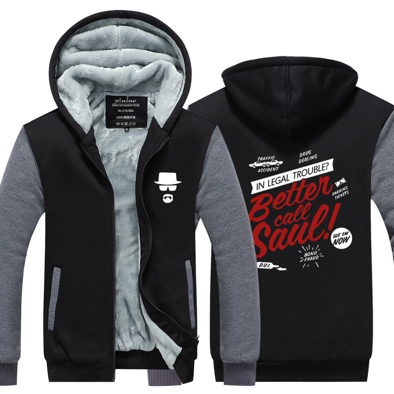 Breaking Bad Heisenberg Hoodies Men Walter White Cook BETTER CALL SAUL Los Pollos Jacket USA size Plus size
