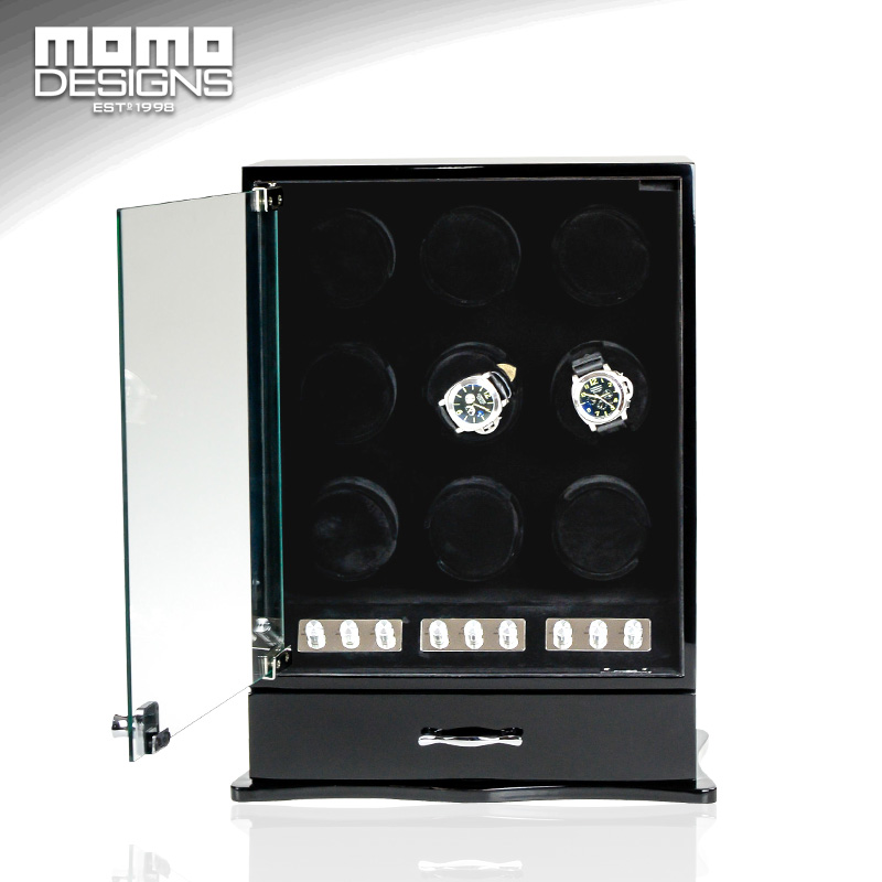 High quality Wooden Watch winder cabinet hose winder 9 Automatic watch winder box Jewelry box case watch store display ultra luxury 2 3 5 modes german motor watch winder white color wooden black pu leater inside automatic watch winder