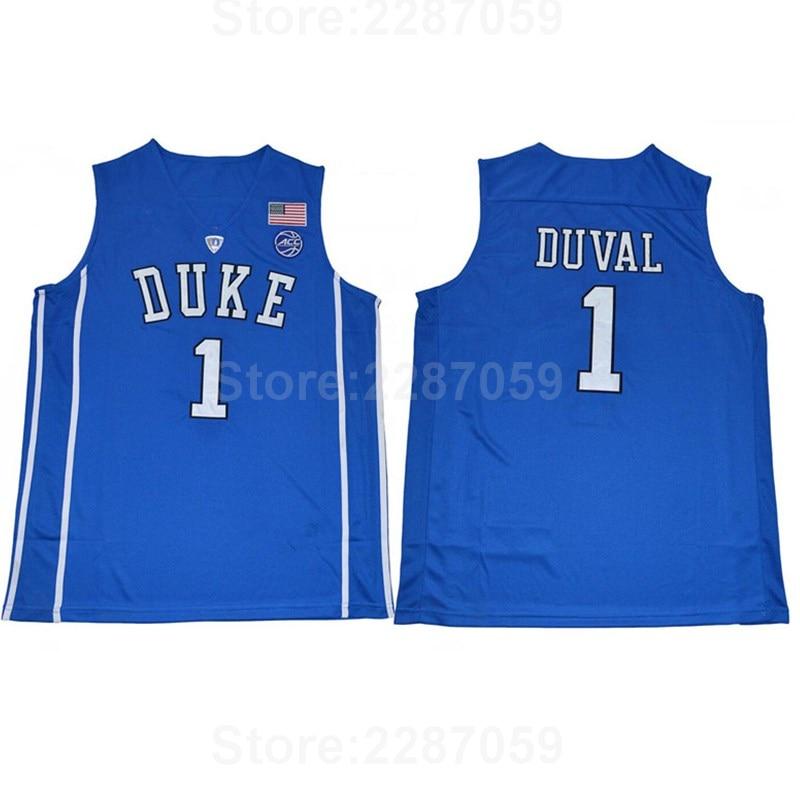 Ediwallen Duke Blue Devils 1 Trevon Duval Jersey College Men Basketball Team Blue Color University Embroidery And Sewing Sale