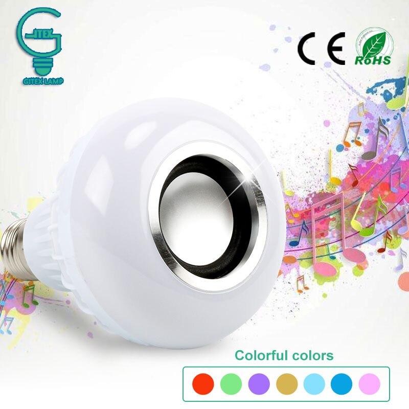 Sans fil Bluetooth haut-parleur Ampoule musique jouant Dimmable 12 W LED Ampoule lampe E27 musique jouant Bombillas Ampoule LampadaSans fil Bluetooth haut-parleur Ampoule musique jouant Dimmable 12 W LED Ampoule lampe E27 musique jouant Bombillas Ampoule Lampada