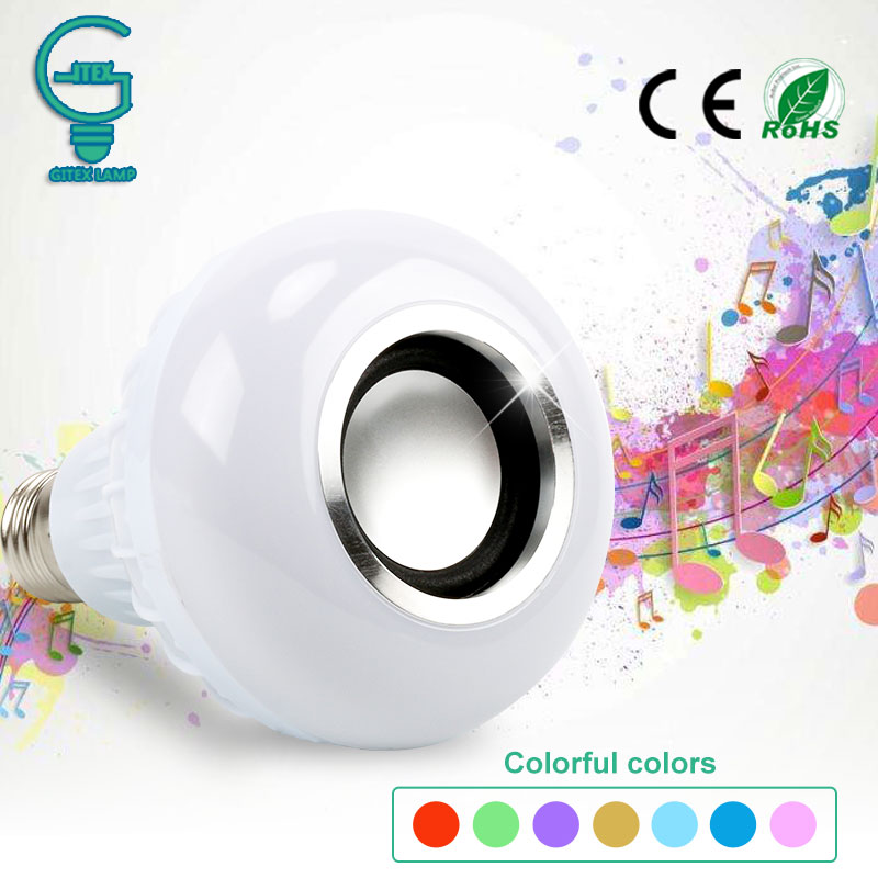 Wireless Bluetooth Speaker Bulb Music Playing Dimmable 12W LED Bulb Light Lamp E27 Music Playing Bombillas Ampoule Lampada szyoumy e27 rgbw led light bulb bluetooth speaker 4 0 smart lighting lamp for home decoration lampada led music playing
