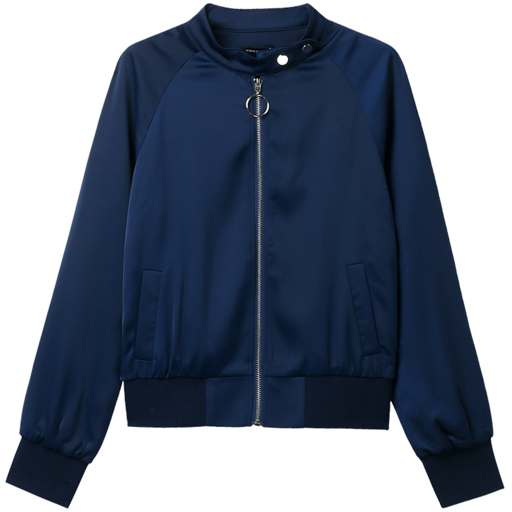 64523179b US $100.9 |Navy Blue Silk Bomber Jacket womanSpring Ukraine Italy Down  Bolero Casaco Feminine Harajuku Womens Jackets And Coats 70W003-in Basic ...