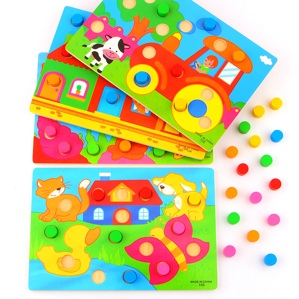 Montessori Educational Toys Color Cognition Board For Children Wooden Toy Jigsaw Early Learning Color Match Game Brinquedos