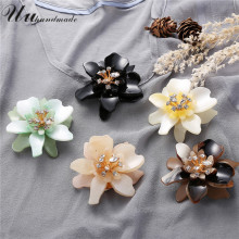 2017 Real Limited Plant Broches Jewelry Fashion Brooch Christmas Gifts Acrylic Flower Lapel Pin Broche Large Brooches For Women