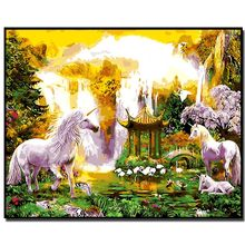 Framed DIY Painting By Numbers Animals horse swan cat elephant Acrylic Painting Modern Picture Home Decor For Living Room 40x50(China)