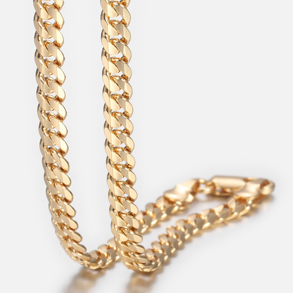 Trendsmax Men's Cuban Link Chain Necklace Gold Filled Chain Necklace Gift For Men Hiphop Jewelry 4.5mm 50cm 60cm KGN438(Hong Kong,China)