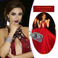 Myriam Fares Red Celebrity Dresses 2017 Custom Made Crystal Arabic Dubai Wedding Party Dress Abiye Formal Evening Gowns