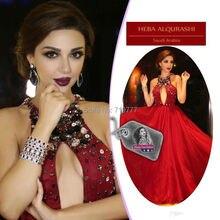 Myriam Fares Rote Celebrity Kleider 2017 Nach Maß Kristall Arabisch Dubai Hochzeit Kleid Abiye Formale Abendkleider