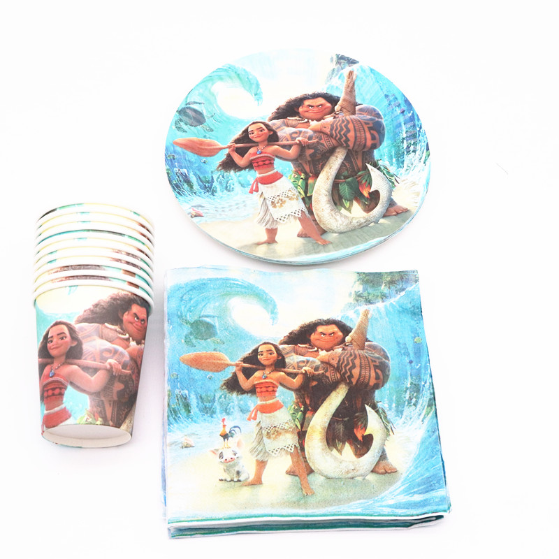 40Pcs Moana Cartoon  Party Decoration Plates Cups Napkins Cover  Baby Shower Birthday Decors Kids Party Supplies