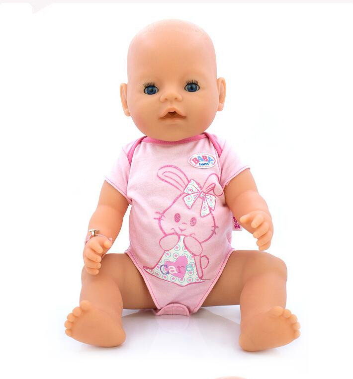 Hot Style 43cm Baby Born Zapf Doll Pink Rabbit Jumpsuits Baby Born Doll Clothes Children Best