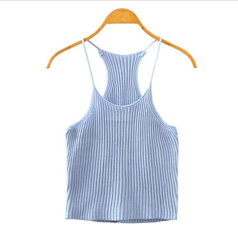 Ženy letní pletené poprsí tílko sexy sexy řemínek bez rukávů strečové ležérní oříznuté plážové tílko nové šaty 9 barev