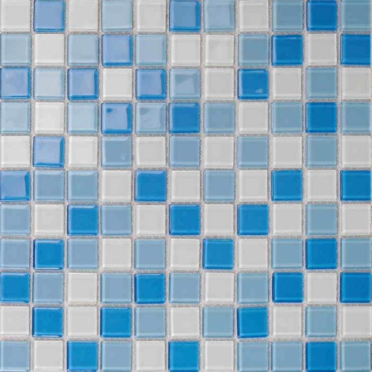 Blue crystal glass mosaic tiles for wall decor bathroom for Stickers pared baratos