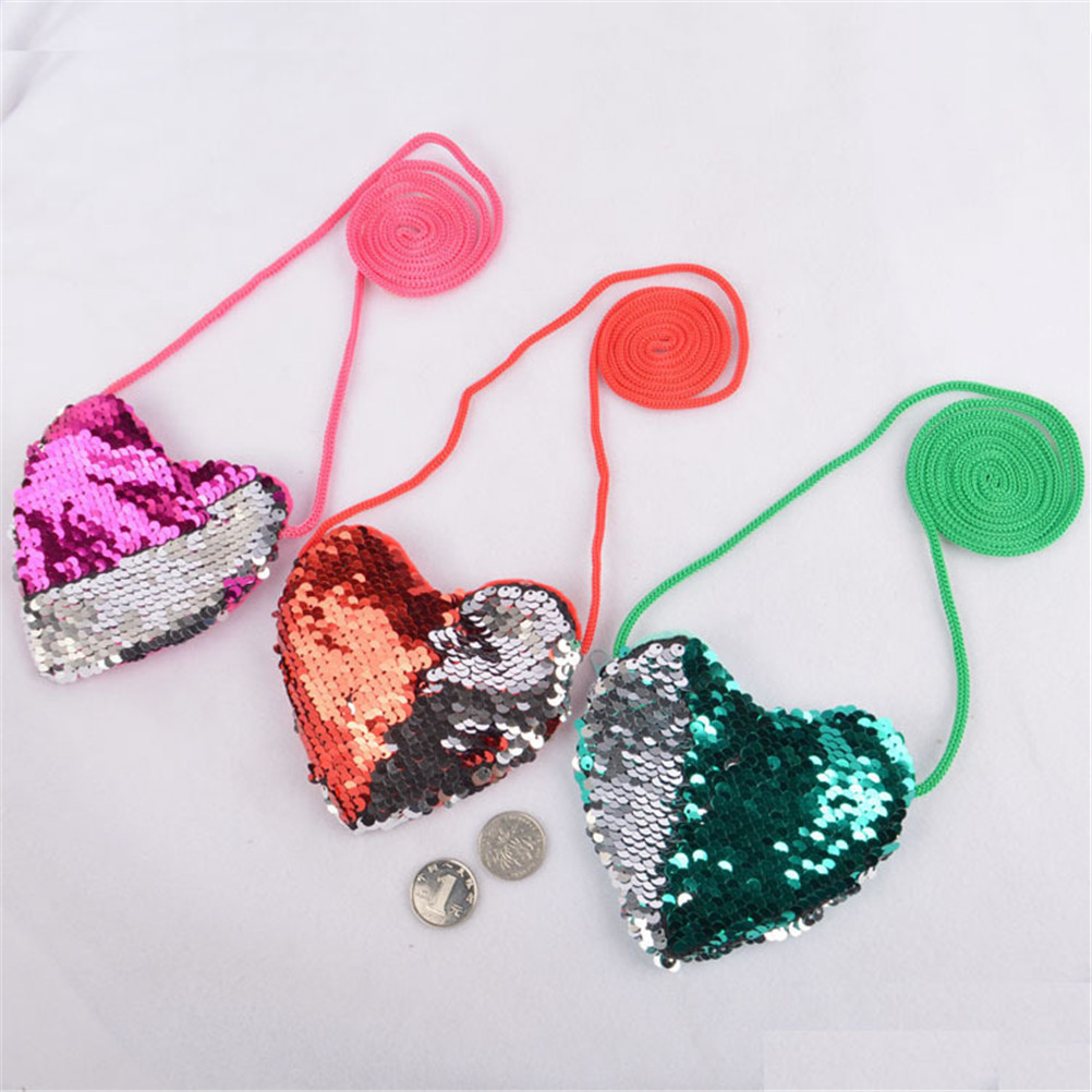 New Sequins Loving Heart Kids Shoulder Coin Bag Baby Girls Mini Crossbody Bag Cartoon Boys Small Coin Purse Children Hand Bags
