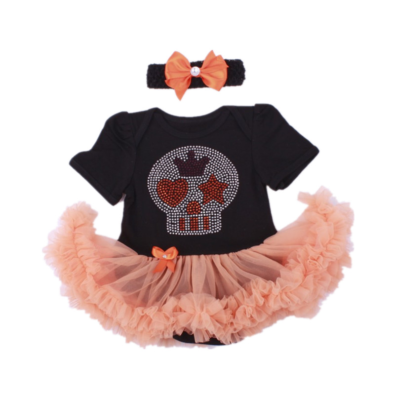 Sale Clearance Orange Skull Drill Costumes Lace Petti Romper Dress 1st Birthday Outfits Jumpsuit Newborn Baby Girl Clothes new baby girl clothing sets lace tutu romper dress jumpersuit headband 2pcs set bebes infant 1st birthday superman costumes 0 2t