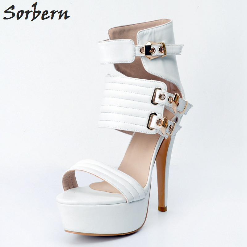 Sorbern White Women Sandals Spike Heels PU Buckle Strap Sandalias Mujer 2018 Sandals Women Summer Luxury Shoes Women Designers sorbern women sandals shoes real image pvc clear heels buckle strap 15cm heels crystal sandalias mujer 2018 summer shoes women