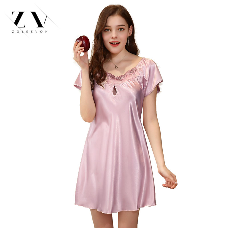 Sexy   nightgowns     sleepshirts   Women Lingerie Silk Sleepwear Sexy Lingerie Nightdress for women Scoop neckline   sleepshirts   female