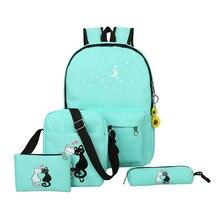 4 шт./компл. Корейская женская рюкзак милый кот печати элегантный дизайн школьная сумка для девочек-подростков рюкзак Mochila Escolar