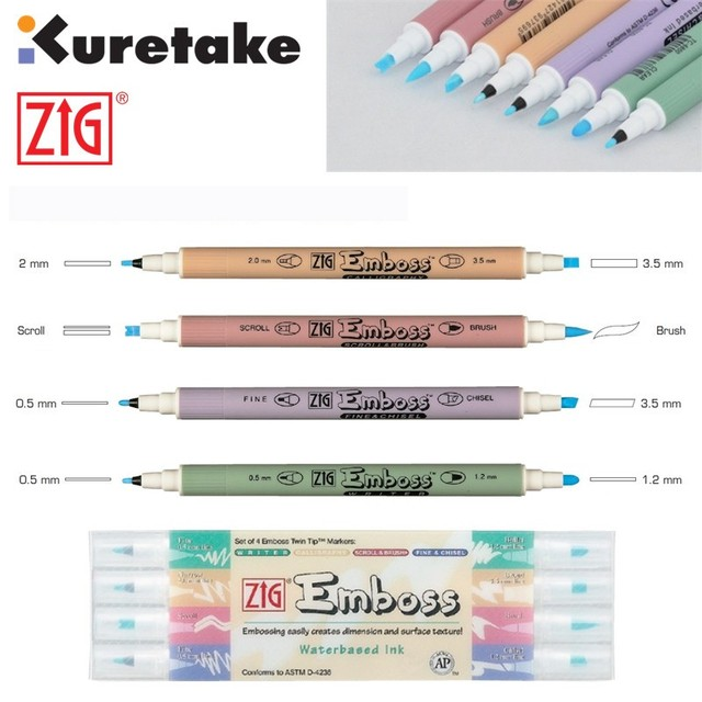 zig kuretake embossing pen twin tip markers writer calligraphy scroll brush fine chisel water