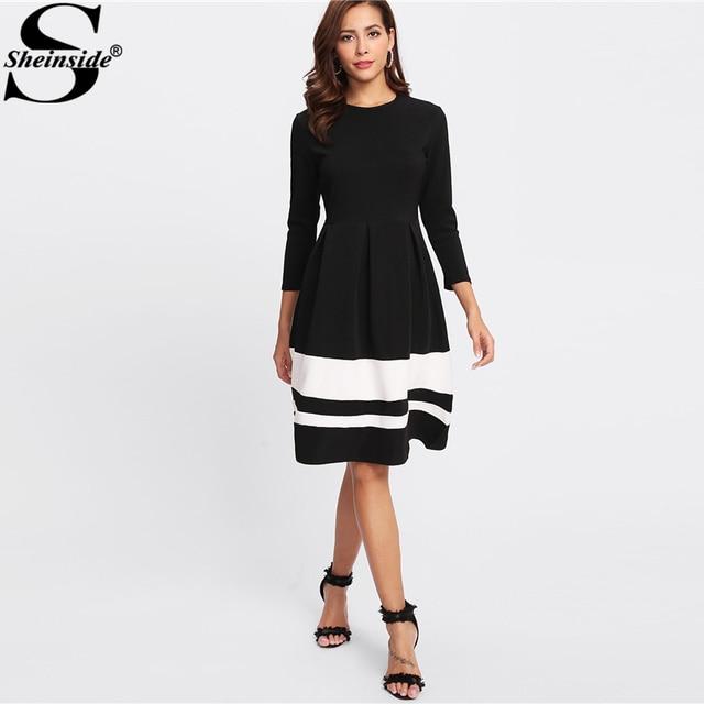 8ca6252927dae9 Sheinside Contrast Striped Hem Dress 3/4 Sleeve Fit And Flare Ladies Dresses  Women Elegant Knee Length Winter Party Dress