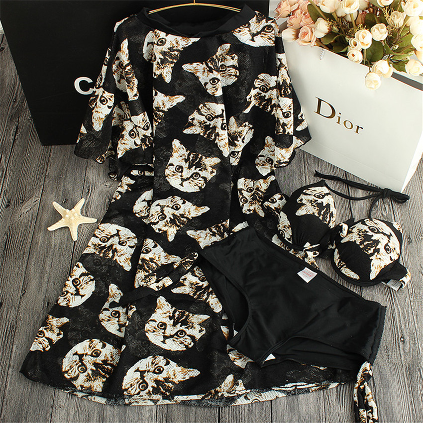 ФОТО STAR MENG 2016 rushed promotion print skirt type conjoined character swimming suit for women gather steel support girl bikini