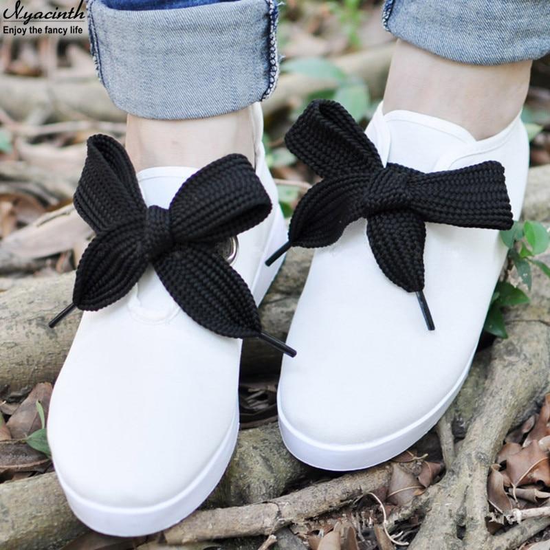 4 Color 3 Cm Width 60 Cm Length Bow Tie Shoelaces Beautiful Lace Widened Leisure Sports Shoes Shoelaces