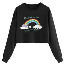 2018 Winter Autumn Korea Sweatshirt For WomenNew College Harajuku Kawaii Rainbow Embroidery Striped Long Sleeve Loose F40(China)