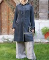 2 Colores Denim longitud Media ropa islámica para las mujeres, abaya islámico para las mujeres de longitud de la rodilla de manga larga túnica musulmana de TOP10048