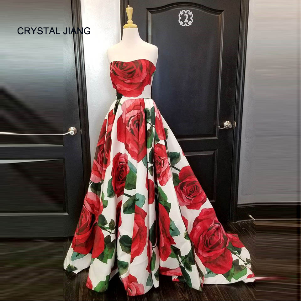 2018 Floral Printed Strapless A Line Custom made Sweep Train Long Party Gown Fashion   Prom     Dresses