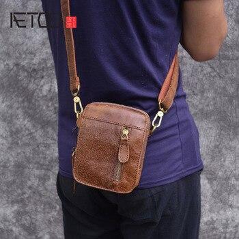 AETOO عارضة falp الرجال حقيبة ساعي جلد البقر محفظة جلدية حقيبة كتف البسيطة حقيبة جلدية صغيرة حقيبة رجالية