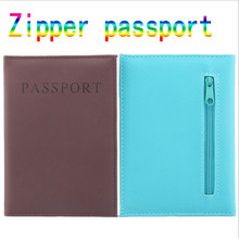 2016 Zipper Passport Holder  English Passport bag PU Leather Passport Cover Flights Clip Credit Card Holder PC-42
