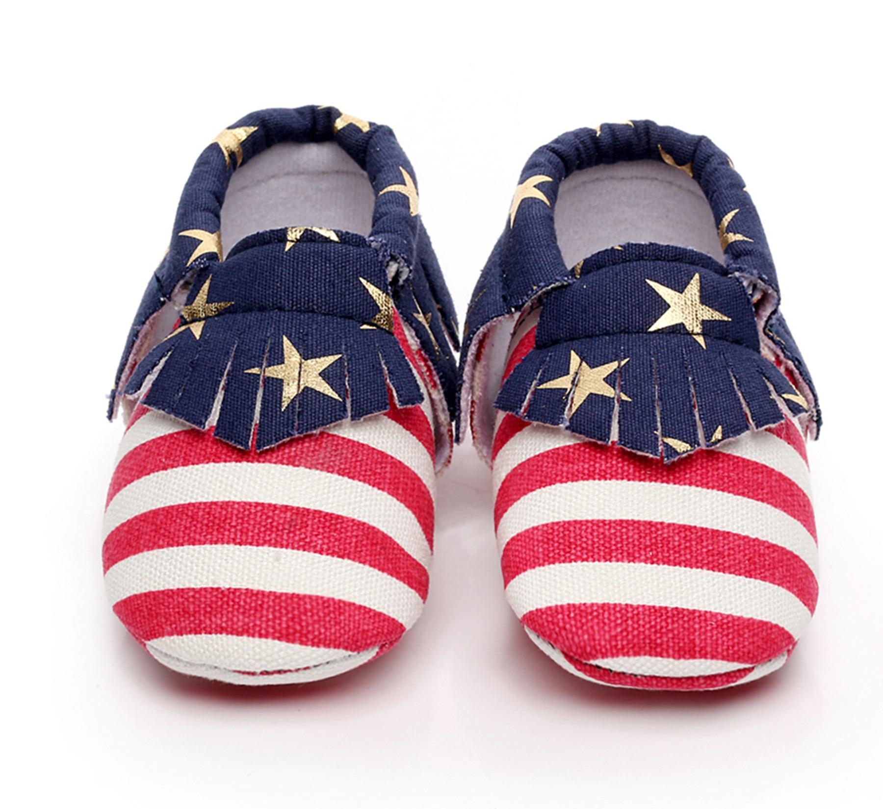 Лидер продаж 2018 г. модные уникальные кисточкой малыша Обувь американский флаг ребенок мягкая подошва Обувь детские мокасины ...