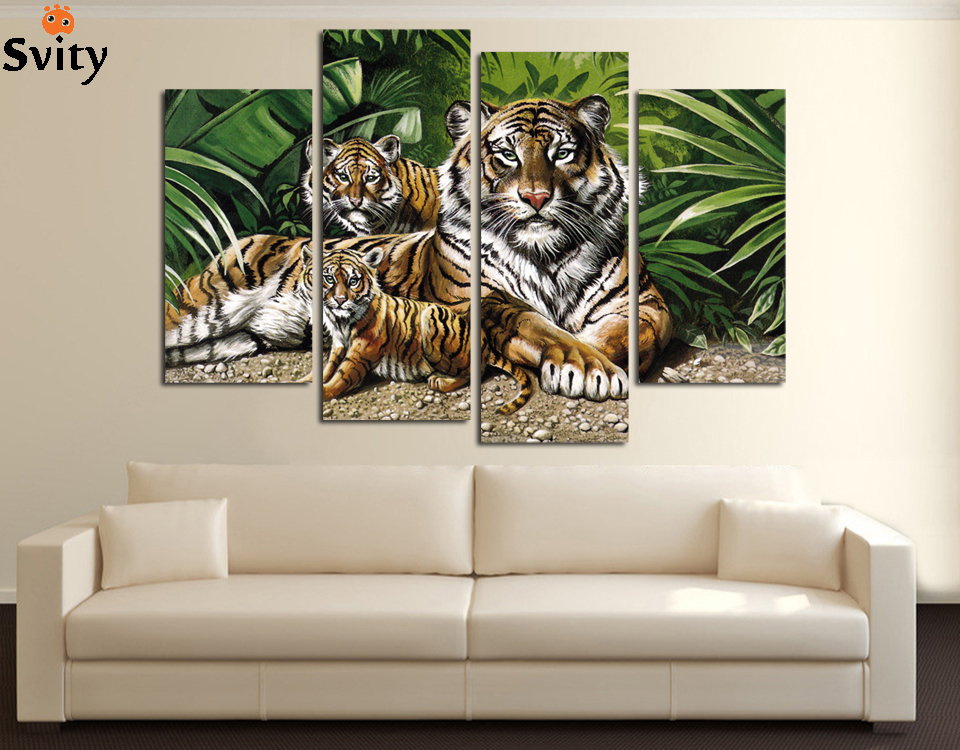 4 Panel Modern Printed African Leopards Canvas Painting Picture Home Decaration Animal Landscape For Living Room