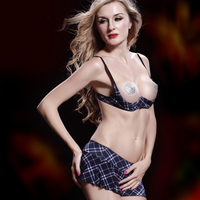 High Quality Open Bra Set Elegant Ladies Blue Plaid Exposed Open Bra Top And Micro Skirt