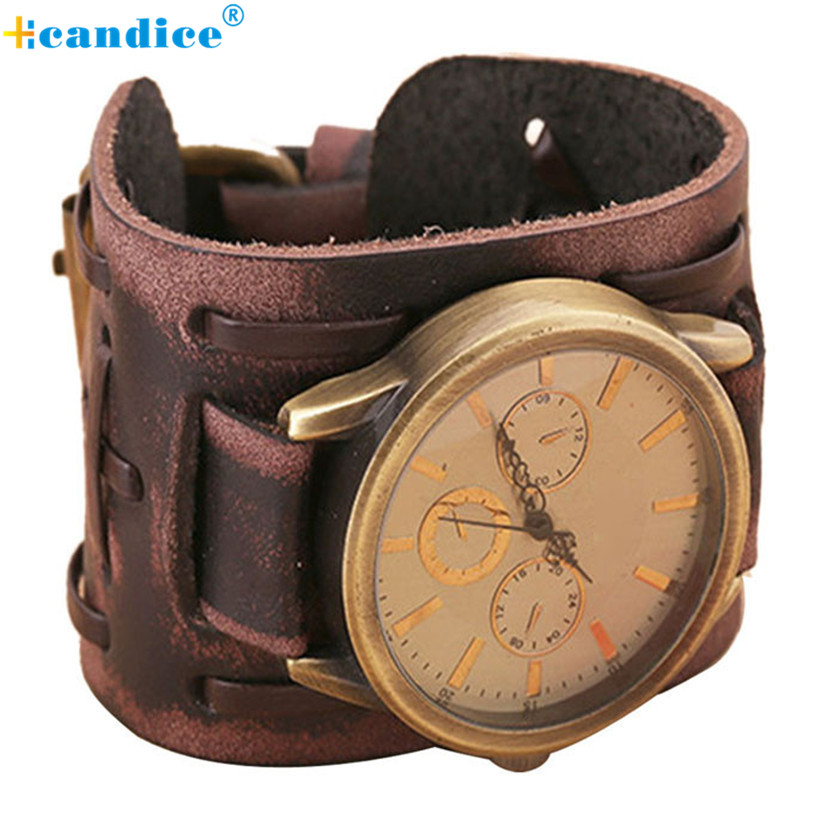2016 New Style Retro Punk Rock Brown Big Wide Leather Bracelet Cuff Men Watch Cool Good Design For Perfect Gift punk style golden color men s cuff bracelet