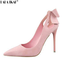 LALA IKAI Bowtie Pointed Toe Women Pumps Suede Stiletto High Heels Party Women Shoes Wedding Shoes Chaussure Femme XWC0430-5