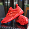Mens Air Mesh Casual Shoes Fashion PU Leather Solid Flat Comfortable Breathable Superstar Trainers Zapatillas Hombre Red Couple