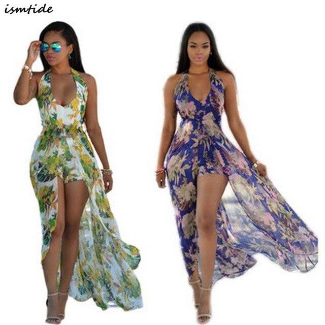 2fcc643a31e6 Floral Print Halter Chiffon Long Dress Women Green Purple Split Beach Summer  Dress Sexy Backless Maxi Dresses Vestidos 2017 new